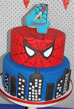 Amazing cake at a Spiderman birthday party! See more party planning ideas at CatchMyParty.com!