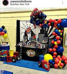 New Party Decoracion Ideas Birthday Men 19 Ideas Spiderman Theme Party, Superhero Birthday Party, 6th Birthday Parties, Batman Party, Man Birthday, Birthday Party Decorations, Birthday Ideas, Avengers Birthday, Partys