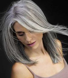 60 Gorgeous Gray Hair Styles beautiful hairstyle for gray hair Long Gray Hair, Silver Grey Hair, Blue Hair, Lilac Hair, Ombre Hair, Dark Hair, Wig Hairstyles, Straight Hairstyles, Medium Hairstyles