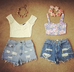 high waisted shorts, cropped tops and flower crowns