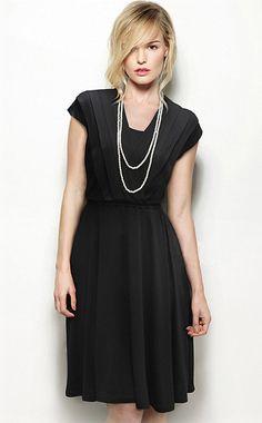 Black Cap Sleeve V Neck Pleated Dress - Fashion Clothing, Latest Street Fashion At Abaday.com