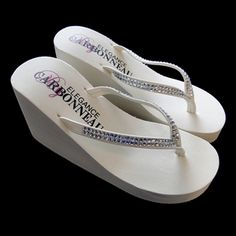 Crystals High Wedge Bridal Flip Flops - White are the perfect pair of platform wedge wedding flip flops for the bride and her bridesmaids. These Bridal flip flops accented with rhinestones brooches in many styles. Wedge Flip Flops, Flip Flop Shoes, Bridal Shoes, Wedding Shoes, Bridal Wedges, Bling Wedding, Wedding 2017, Prom Shoes, Wedding Dresses