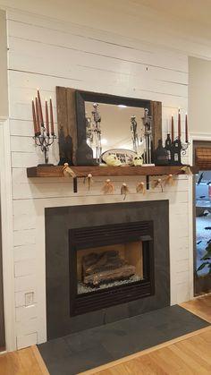 fireplace slate. Black Slate and Shiplap Fireplace Surround  Pinterest
