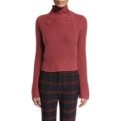 Derek Lam 10 Crosby Asymmetric Ribbed Cashmere Sweater (€460) ❤ liked on Polyvore featuring tops, sweaters, rosewood, long sleeve pullover sweater, cashmere sweater, cashmere turtleneck, red cashmere sweater and pullover sweaters