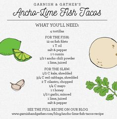 Ancho-Lime Fish Tacos by Garnish & Gather Red Cabbage, Fish Tacos, Suppers, Chili Powder, Recipe Ideas, Lime, Stuffed Peppers, Table, Blog