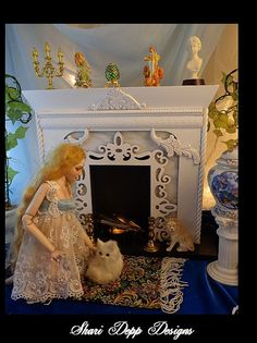 Handmade Fireplace Set with Flickering Hearth  by ShariDeppDesigns, $99.00