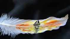 Sailboat silhouette hand painted goose feather bookmark by SuddenlySensational on Etsy