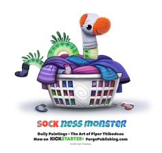 Daily Sock Ness Monster by Cryptid-Creations on DeviantArt Cute Food Drawings, Cute Animal Drawings, Animal Sketches, Kawaii Drawings, Cute Fantasy Creatures, Cute Creatures, Cute Cartoon, Cartoon Art, Animal Puns