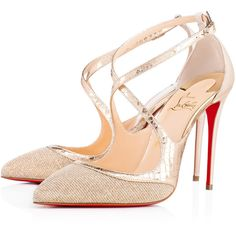 Crissos 100 Version Silver Glittex - Women Shoes - Christian Louboutin ($845) ❤ liked on Polyvore featuring shoes, christian louboutin shoes, christian louboutin, d'orsay shoes, vintage footwear and silver shoes