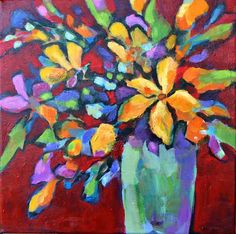 Flores - Original Abstract Painting by Texas Contemporary Artist Filomena de Andrade Booth