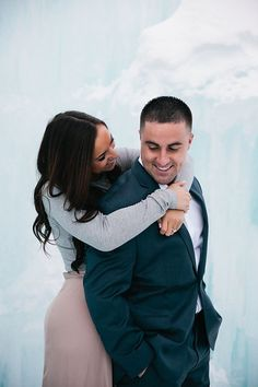 Photo from Jessica & Dom | New Hampshire Engagement collection by Carly Michelle Photography. Ice Castle Engagement