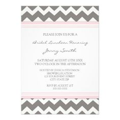 Pink Gray Chevron Bridal Lunch Invitation Cards today price drop and special promotion. Get The best buyDiscount Deals          	Pink Gray Chevron Bridal Lunch Invitation Cards Here a great deal...