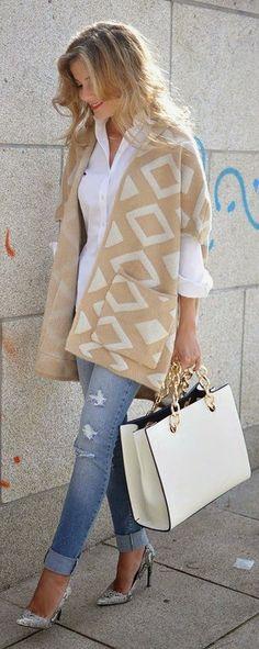 Apricot Geometric Print Hooded Knit Vintage Cardigan Sweater