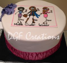 My middle sister wine theme cake, with hand painted logo and names of birthday girls on it.