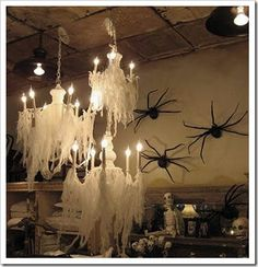 These chandeliers are beautiful and spooky.