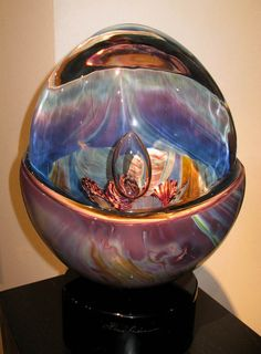 "Dino Rosin - Gallery 'Birth Of The Universe' Art-Glass Sculpture  D's:17"" x 10"" x 5"" onessimofineart.com♥♥"