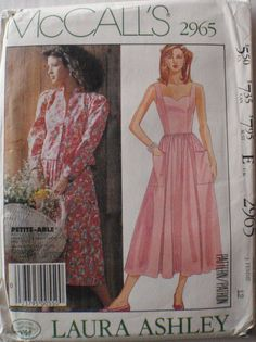 Vintage Misses Lined Jacket and Dress Pattern - McCall's Laura Ashley 2965 - Size 12, Bust 34. $4.00, via Etsy.