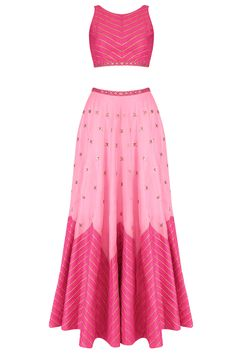 Dark pink and pink two tone zigzag lines and sequins embellished lehenga set available only at Pernia's Pop Up Shop.