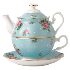 Bone china tea-for-one teapot with a rose motif and gold trim.    Product: TeapotConstruction Material: Fine bo...