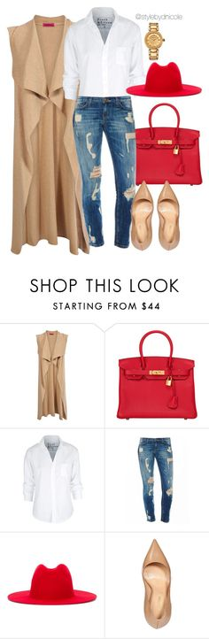 """""""Untitled #3257"""" by stylebydnicole ❤ liked on Polyvore featuring Boohoo, Hermès, Frank & Eileen, Études, Sergio Rossi and Versace"""