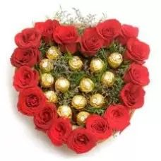 Choco Roses Heart | Heart Shape Basket