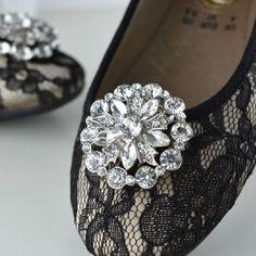 Round Flower Star Silver Tone Rhinestone Crystal Wedding Bridal Shoe Clips Pair #Unbranded #Vintage #WeddingPartyChristmasPartyAnyParty