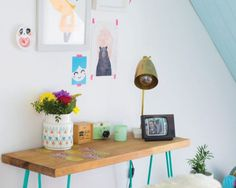 Steal the kind: Recreate Joanne's ingenious, candy-coloured sort with highstreet buys Floating Nightstand, Floating Shelves, Sweetpea And Willow, Pink Images, Colourful Living Room, H&m Home, Blue Plates, Candy Colors, Colorful Decor