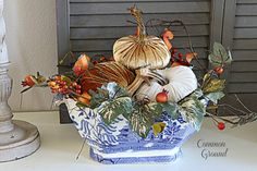 Pretty Fall Centerpiece using velvet pumpkins and a Blue Willow soup tureen