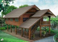 Tyni House, Rest House, Tiny House Cabin, Cottage House Plans, Small House Plans, Cottage Homes, House In The Woods, Wooden House Design, Bamboo House Design