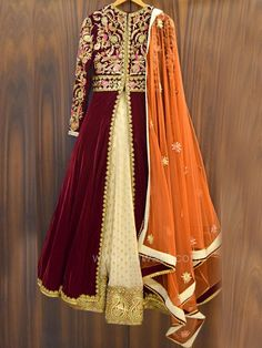 Velvet Embroidered Anarkali Style Lehenga Choli by Designer Anisha Shetty