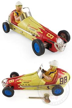 Champion's Racer 98 Large : Flames on Race Car : Japanese Tin Toy : 1950 Race Car : Sanyo