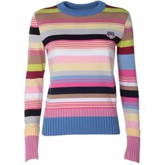 Kenzo Striped Cotton-Blend Knit Sweater (£220) ❤ liked on Polyvore featuring tops, sweaters, rosa, striped knit sweater, stripe sweaters, striped crew neck sweater, long sleeve knit sweater and kenzo sweater