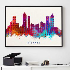 Atlanta Skyline Print, Atlanta Painting, Atlanta Art, Atlanta Wall Decor, Watercolor Atlanta, Georgia Art, Atlanta Theme (N169) by PointDot on Etsy