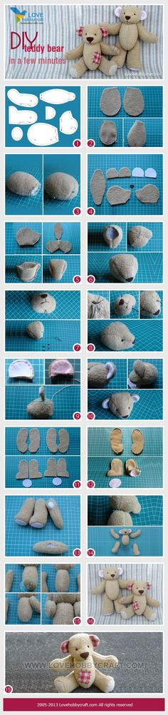 """Instructions for creating a teddy bear. This wouldn't be completed """"in a few minutes"""", however, the step by step photographs look quite informative."""