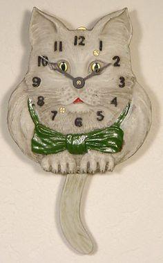 Lux Animated Style Blinking Eye Swinging Tail White Cat Novelty Clock | eBay