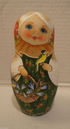 Big Russian Matryoshka - Wooden Nesting Dolls - 10 Pieces Unique Coloring #1 | eBay