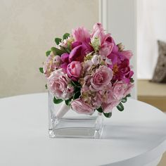Hot pink and light pink mixed floral is a fun and modern twist on the traditional bouquet.