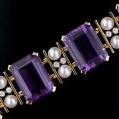 Amethyst, Cultured Pearl and Diamond Bracelet.
