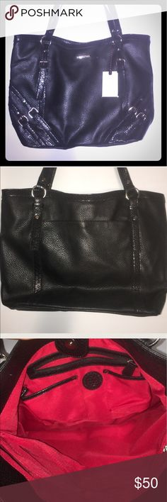 Black Dana  Buchman purse New With Tags Black Dana  Buchman purse New With Tags 3 compartments beautiful purse pockets on inside pebble leather new with tags nice handles silver hardware Dana Buchman Bags Shoulder Bags