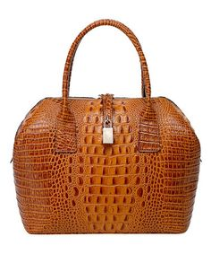 Loving this Brown Diane Crocodile-Embossed Leather Satchel on #zulily! #zulilyfinds