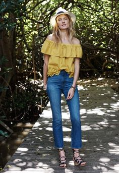 Eyelet Balcony Off-the-Shoulder Top in Mystic Yellow