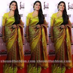 Actress Kasthuri in green silk saree for 62nd filmfare awards 2015