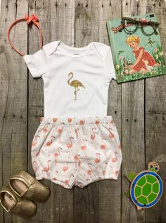 Flamingo First Birthday bloomers and onesie by PamiesBabyThreads