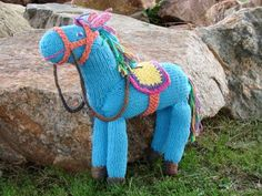 blue knitted horse
