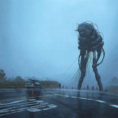 Scifi-girl-robot-traveling-artbook-simon-stalenhag