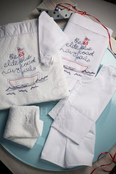 Embroidered Christening lathopana sailing boat Sailing Boat, Christening, Retail, Sailboats, Sleeve, Retail Merchandising, Retail Space