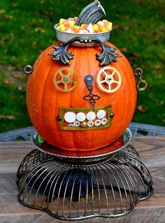 Pumpkin decorated with repurposed metal junk.