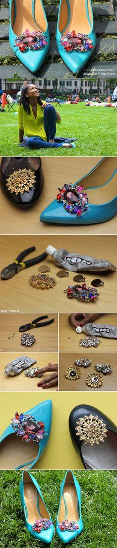 FRUGAL-NOMICS.COM DIY: Jeweled Shoe Clip | Details on Frugal-nomics.com/diy
