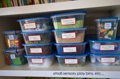 sensory play bins - lots of cool ideas here for setting up and organizing play materials so they are accessible to kids and encourage actual playing!