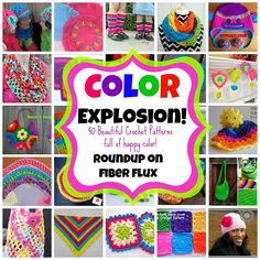 It's A Color Explosion!  Colorful & happy roundup of 40 crochet patterns on Fiber Flux!